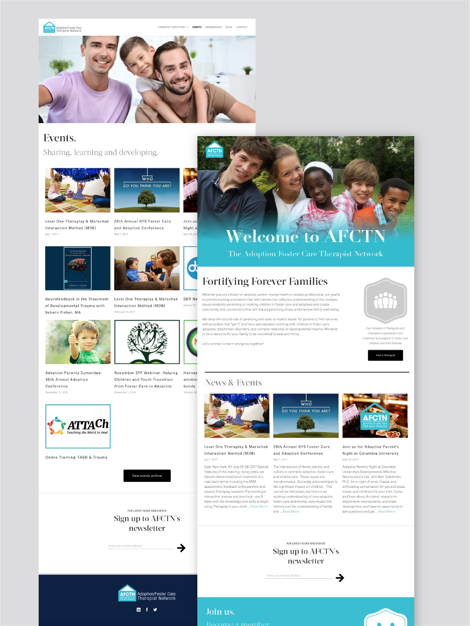 AFCTN Adoption Foster Care therapist Network website