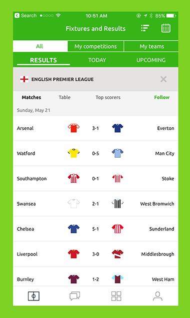 Pundit Club app Match schedule