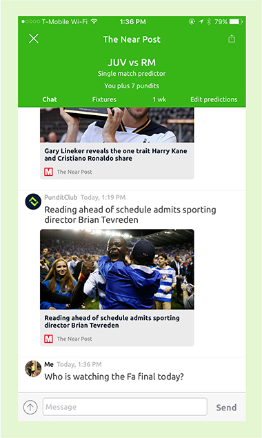 Pundit Club app chat and near post