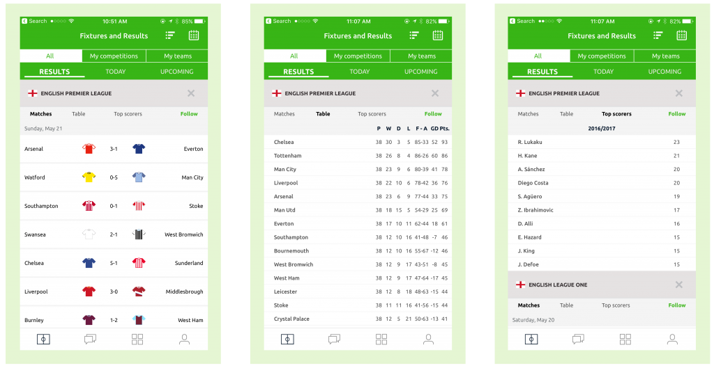 Pundit Club app Fixtures and Results screens